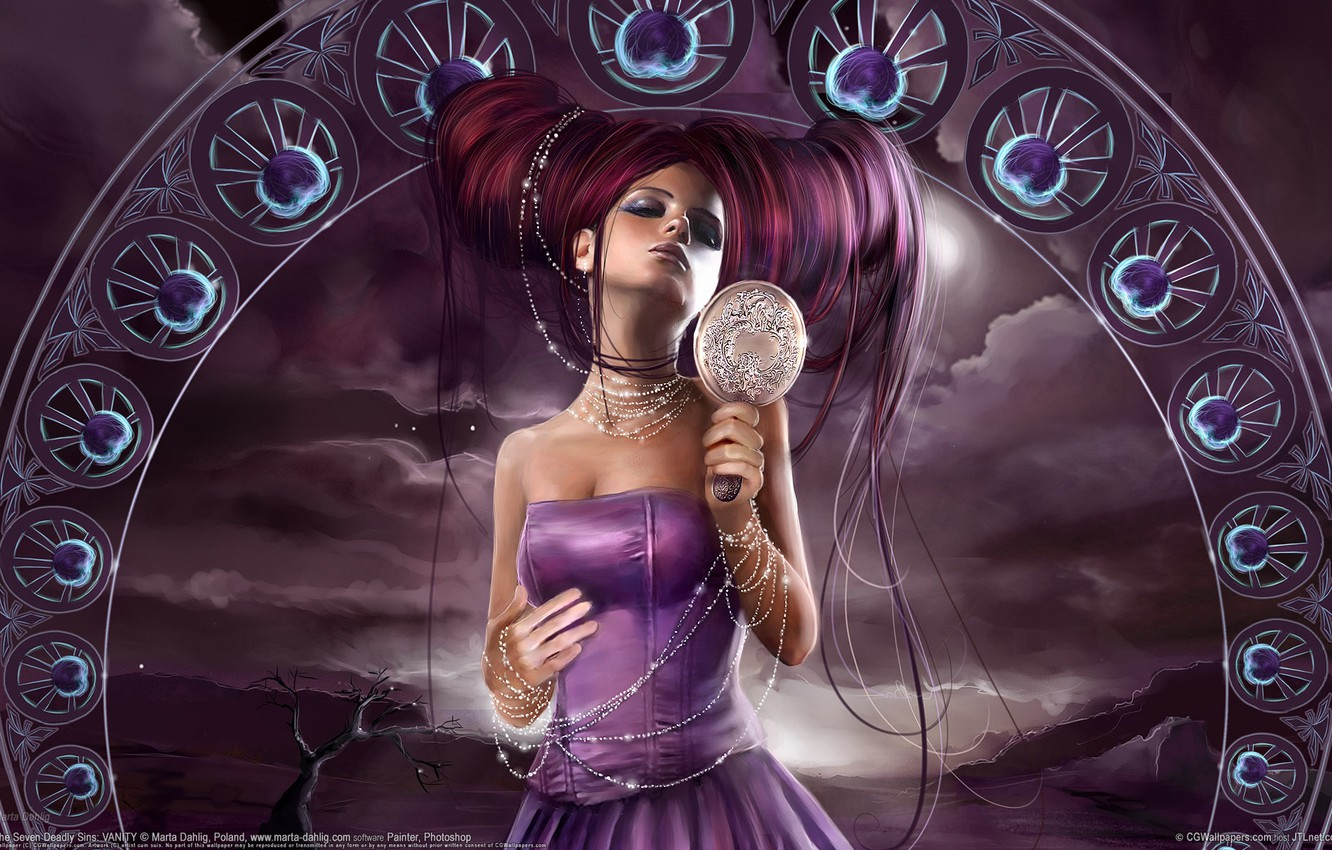 Photo wallpaper purple, fantasy, hairstyle, greed, marta dahlig