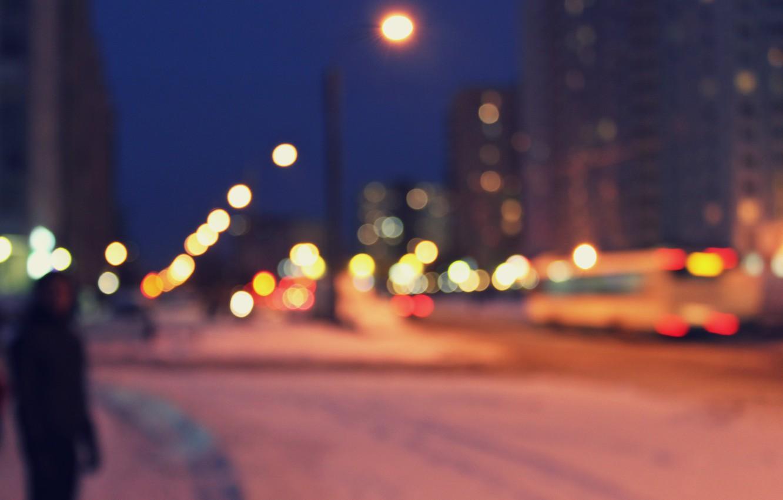 Photo wallpaper light, the city, street, people, home, blur, Night, lights, bus, bokeh, without focus, bokeh