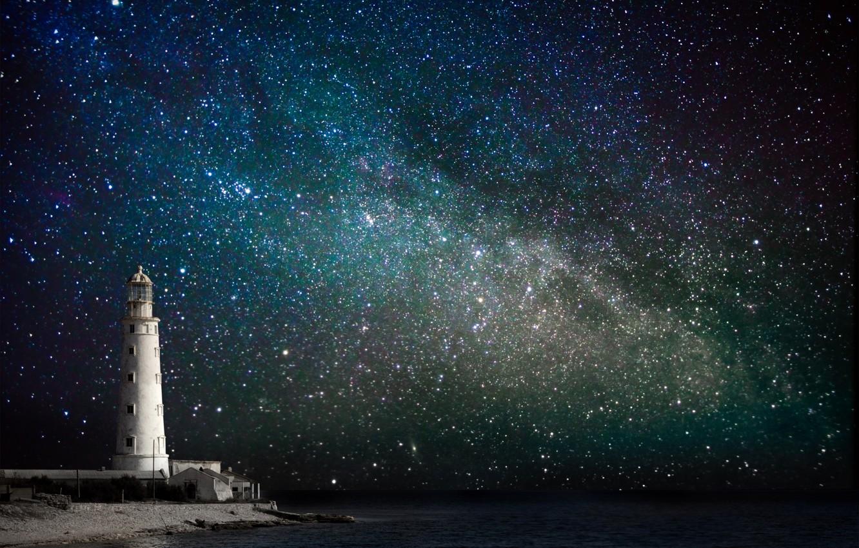 Photo wallpaper sea, the sky, stars, night, coast, lighthouse, the milky way
