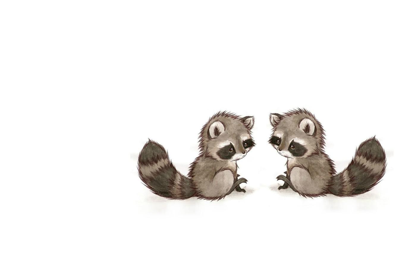 Photo wallpaper mood, baby, art, raccoon, children's