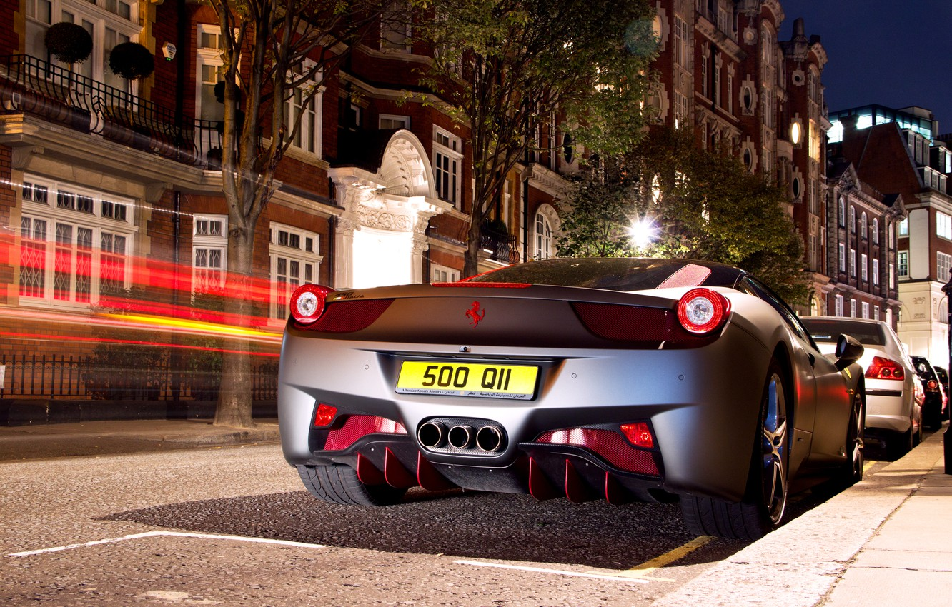Photo wallpaper night, the city, lights, excerpt, spider, ferrari, 458, italia