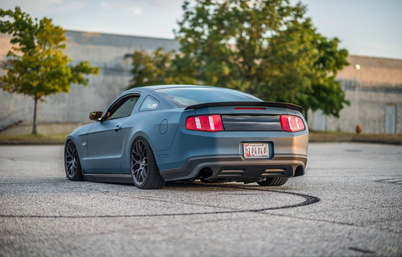 Photo wallpaper lights, ass, Mustang, Ford, Road, drives, blue, foot