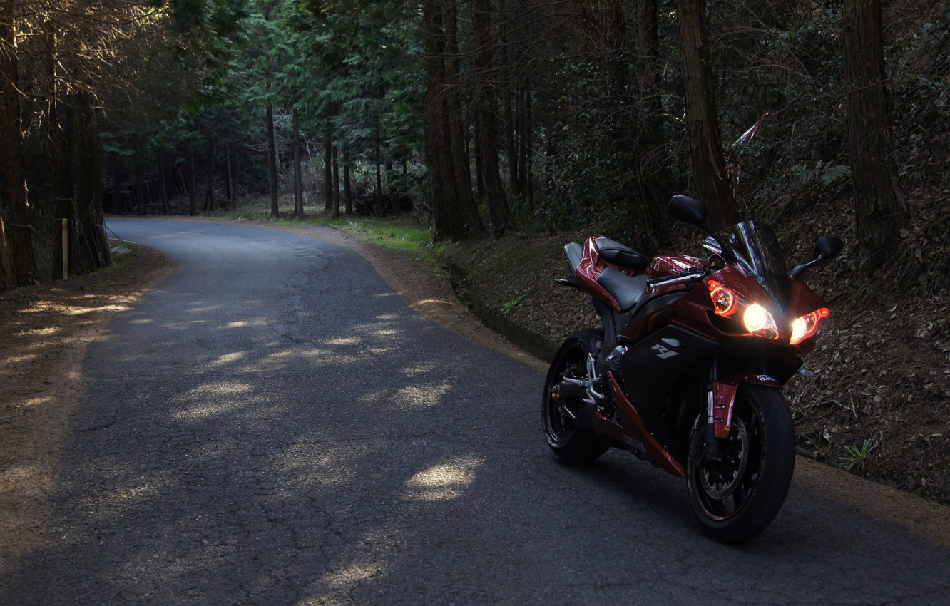 Photo wallpaper road, forest, red, motorcycle, red, yamaha, bike, Yamaha, yzf-r1
