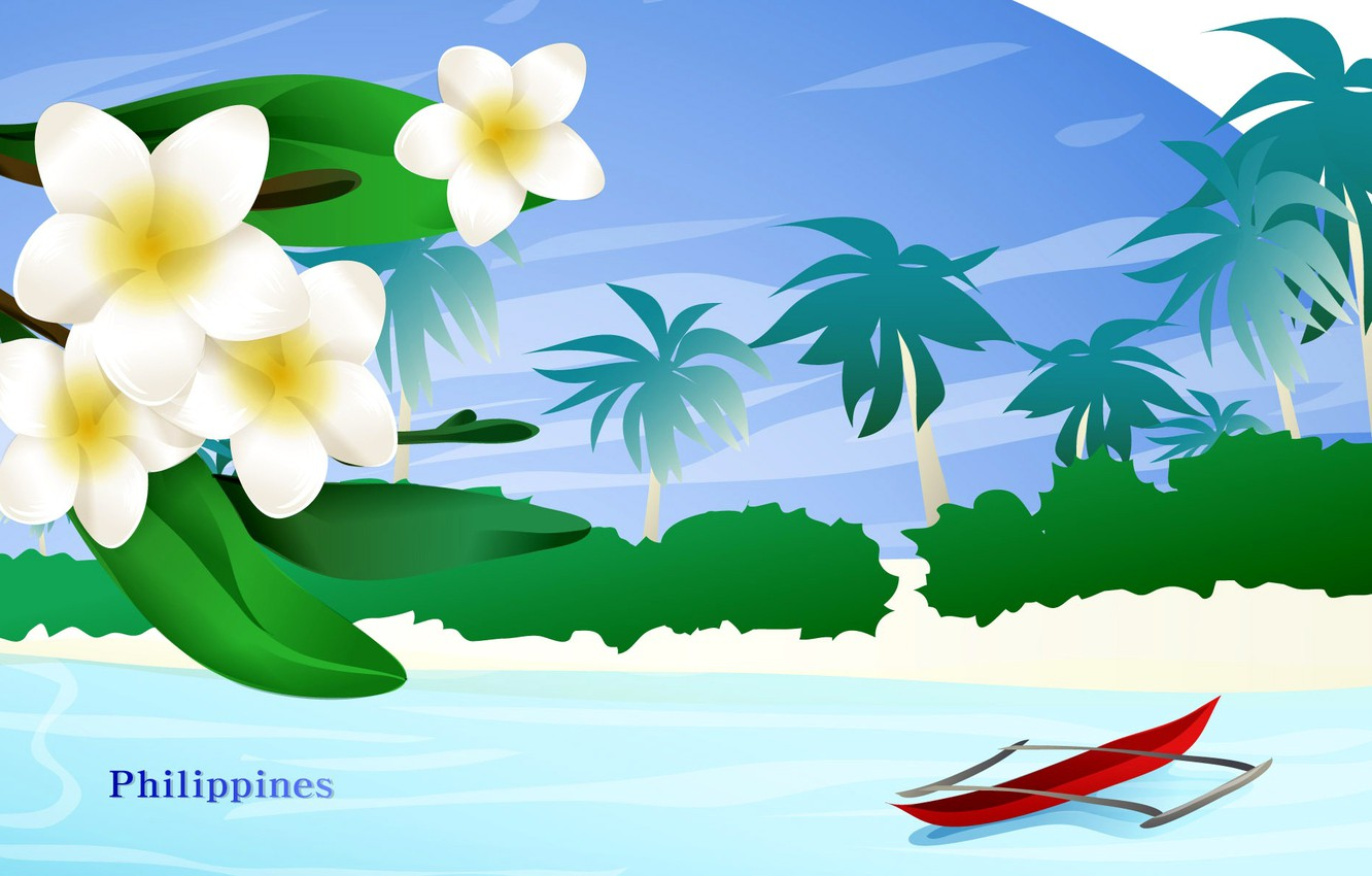 Photo wallpaper sea, landscape, flowers, travel, boat, tourism, country, the state, Philippines, Philippines
