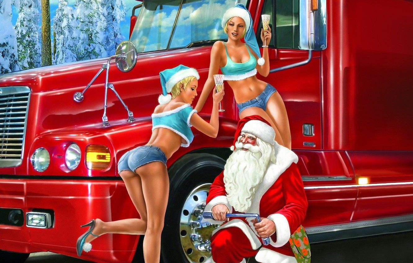 Photo wallpaper winter, holiday, glasses, Santa Claus, the snow maiden