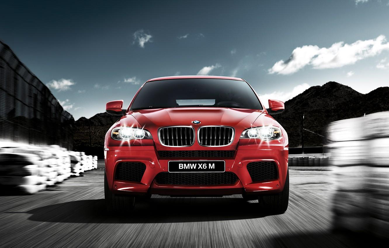 Photo wallpaper night, red, bmw, speed, jeep, bmw x6