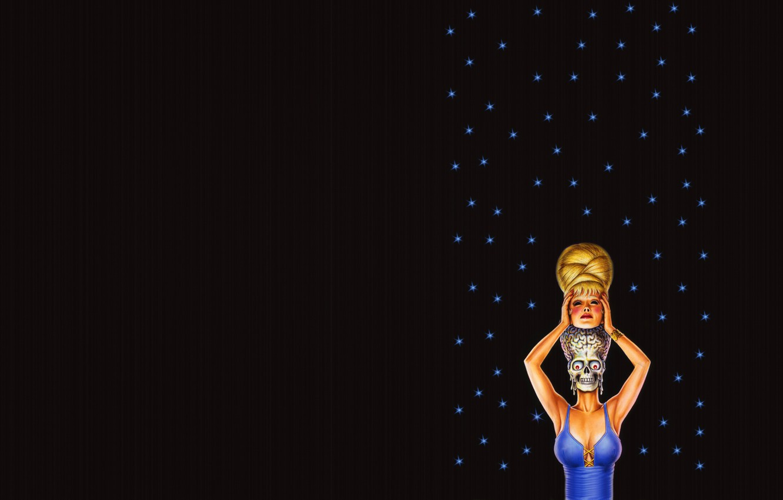 Photo wallpaper girl, stars, strip, the dark background, skull, minimalism, head, alien, skeleton, alien, disguise, brains, blue …