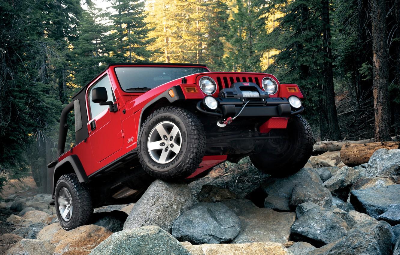 Photo wallpaper red, wrangler, Jeep