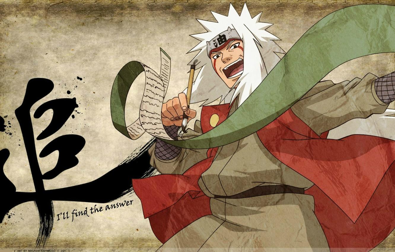 Photo wallpaper character, brush, white hair, scroll, ninja, sensei, Jiraiya, Naruto Shippuden, Naruto shippuuden, bandage on forehead, …