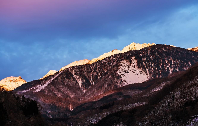 Photo wallpaper the sky, snow, mountains, blue, Japan, lilac, Nagano Prefecture