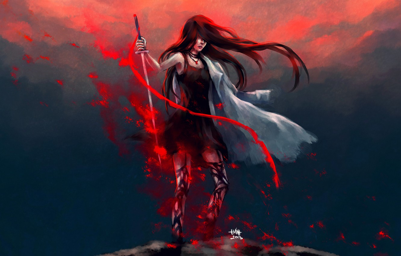 Photo wallpaper girl, weapons, sword, tears, cloak, art, nanfe