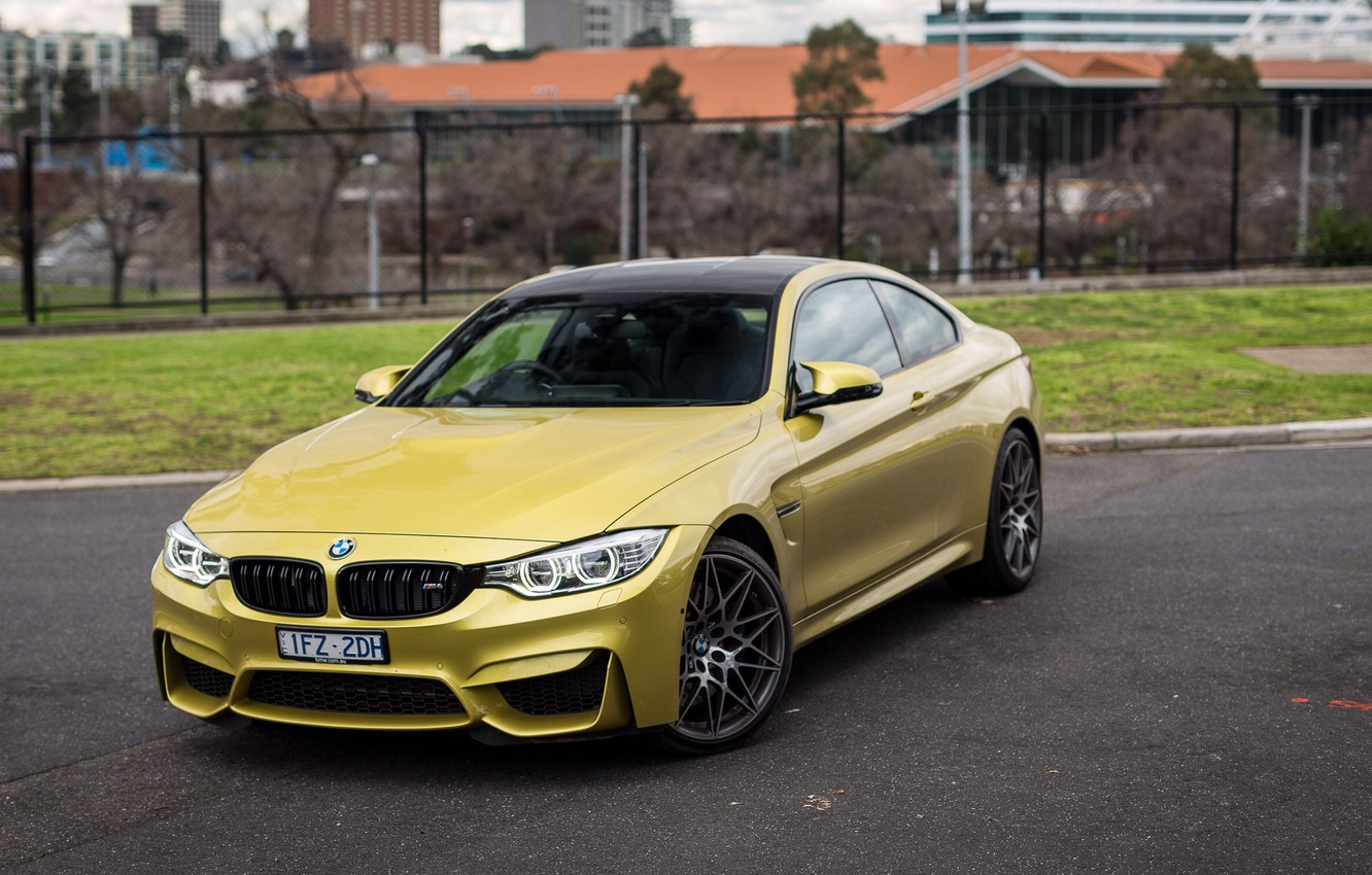 Photo wallpaper auto, lights, the hood, BMW, Coupe, the front, Competition Package, M4
