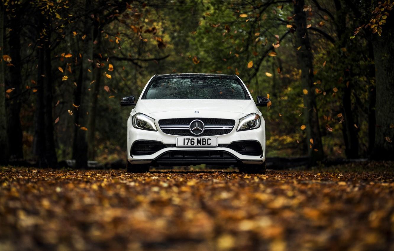 Photo wallpaper autumn, white, leaves, Mercedes-Benz, Mercedes, AMG, AMG, A-class, W176
