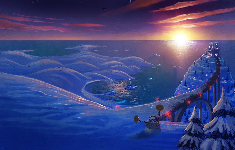 Photo wallpaper winter, road, snow, mood, holiday, new year, tale, art, snowman