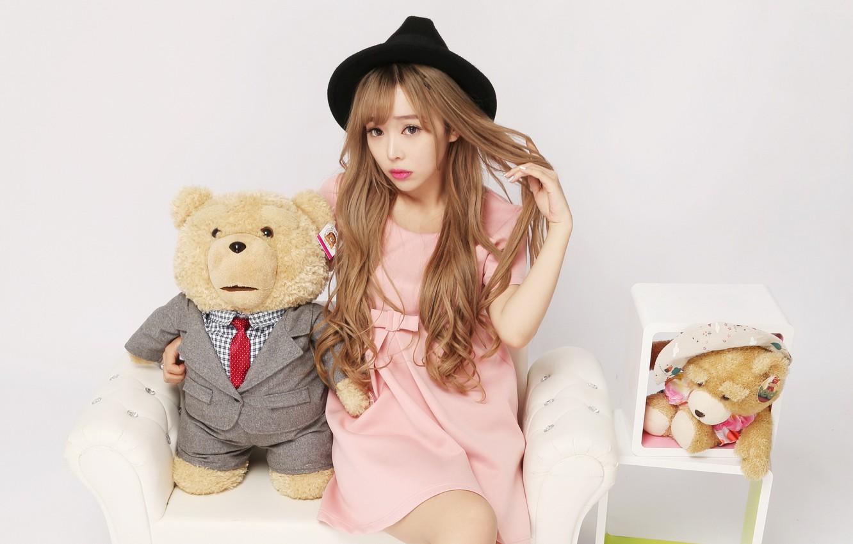 Photo wallpaper girl, mood, toy, bear, Shlapak