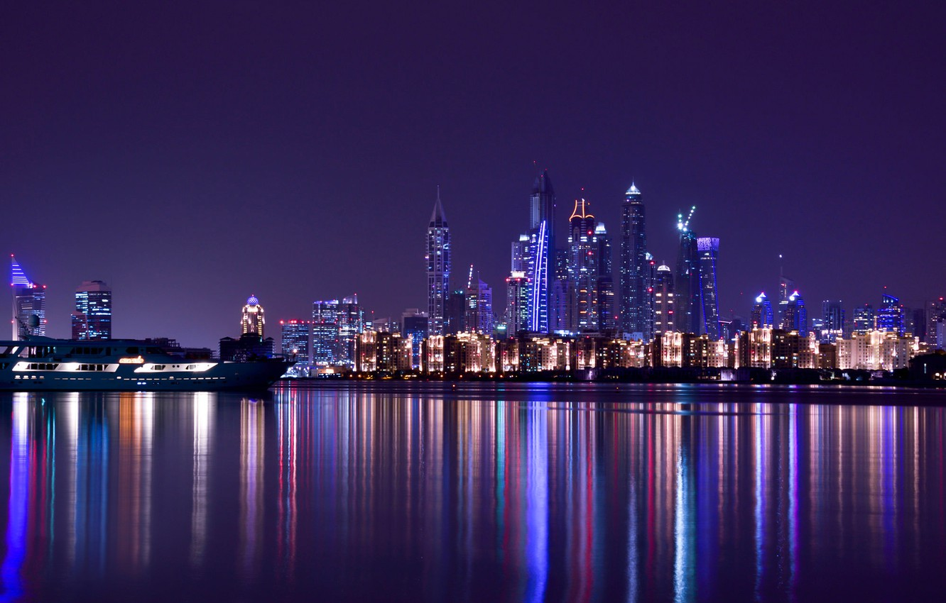Wallpaper City Light Purple Dubai Night Emirates Travel Scape Images For Desktop Section Gorod Download