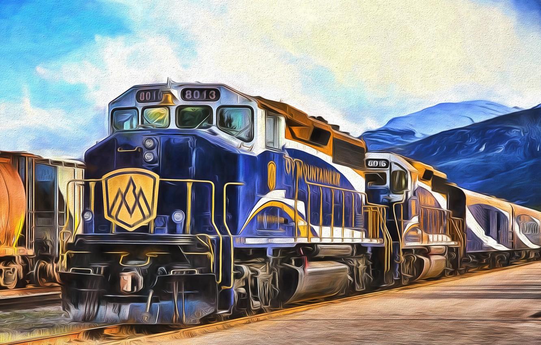 Photo wallpaper the engine, Train, railroad, locomotive