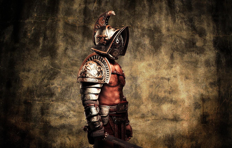 Photo wallpaper metal, style, armor, warrior, helmet, male, Gladiator, flesh, Gladius