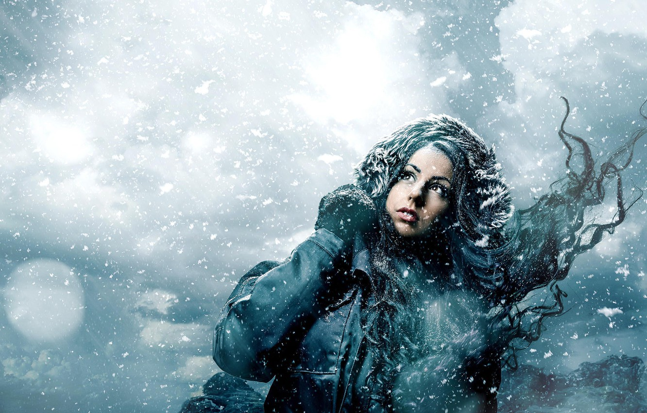 Photo wallpaper winter, girl, snow, snowflakes, the wind, jacket
