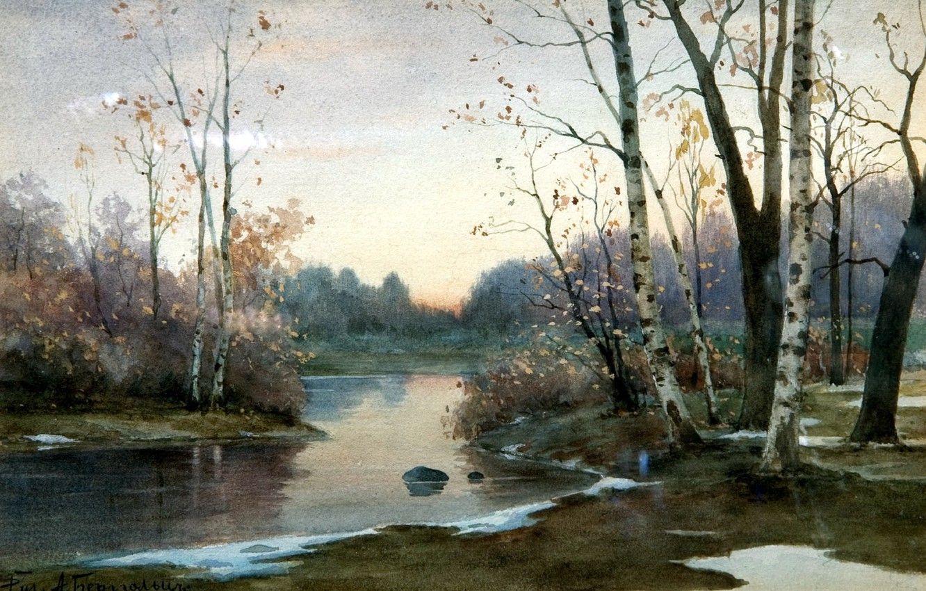 Photo wallpaper autumn, forest, the sky, water, trees, landscape, river, stone, picture, painting, birch, Bergholz
