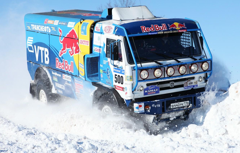 Photo wallpaper Winter, Blue, Snow, Truck, Red Bull, 500, Kamaz, Rally, KAMAZ, Dakar, Master