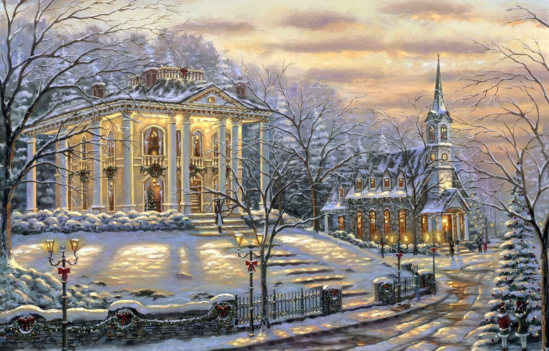 Photo wallpaper snow, decoration, lights, house, Robert Finale