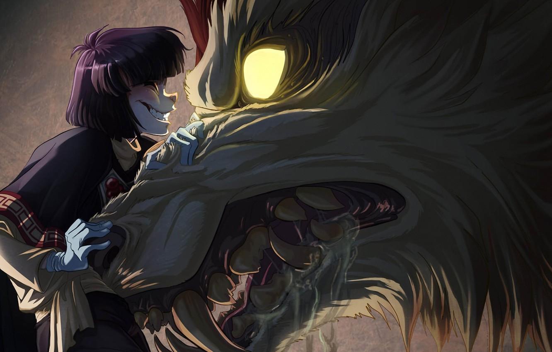 Photo wallpaper wolf, anime, art
