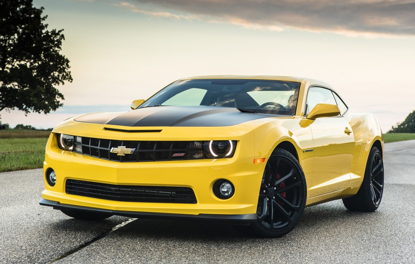 Photo wallpaper road, the sky, yellow, tree, Chevrolet, Camaro, Chevrolet, Camaro, the front, Muscle car, Muscle car, …