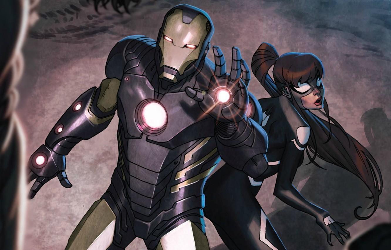 Photo wallpaper Iron Man, Marvel Comics, Tony Stark, Anya Corazon, Spider-Girl