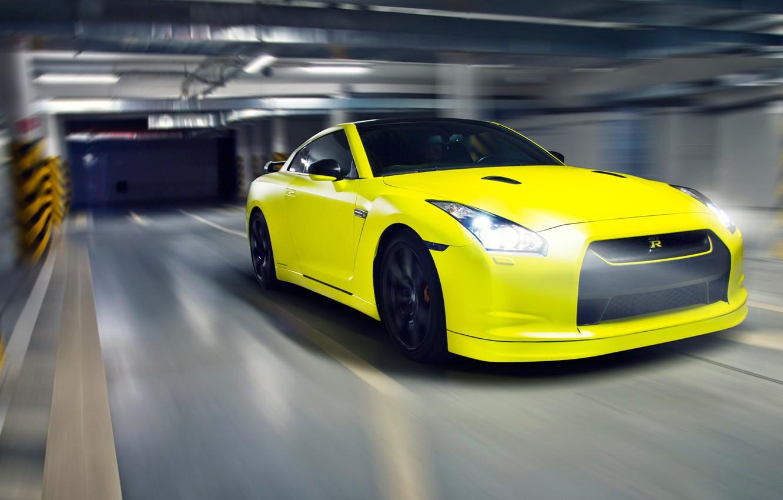 Photo wallpaper yellow, nissan, Parking, sports car, gtr