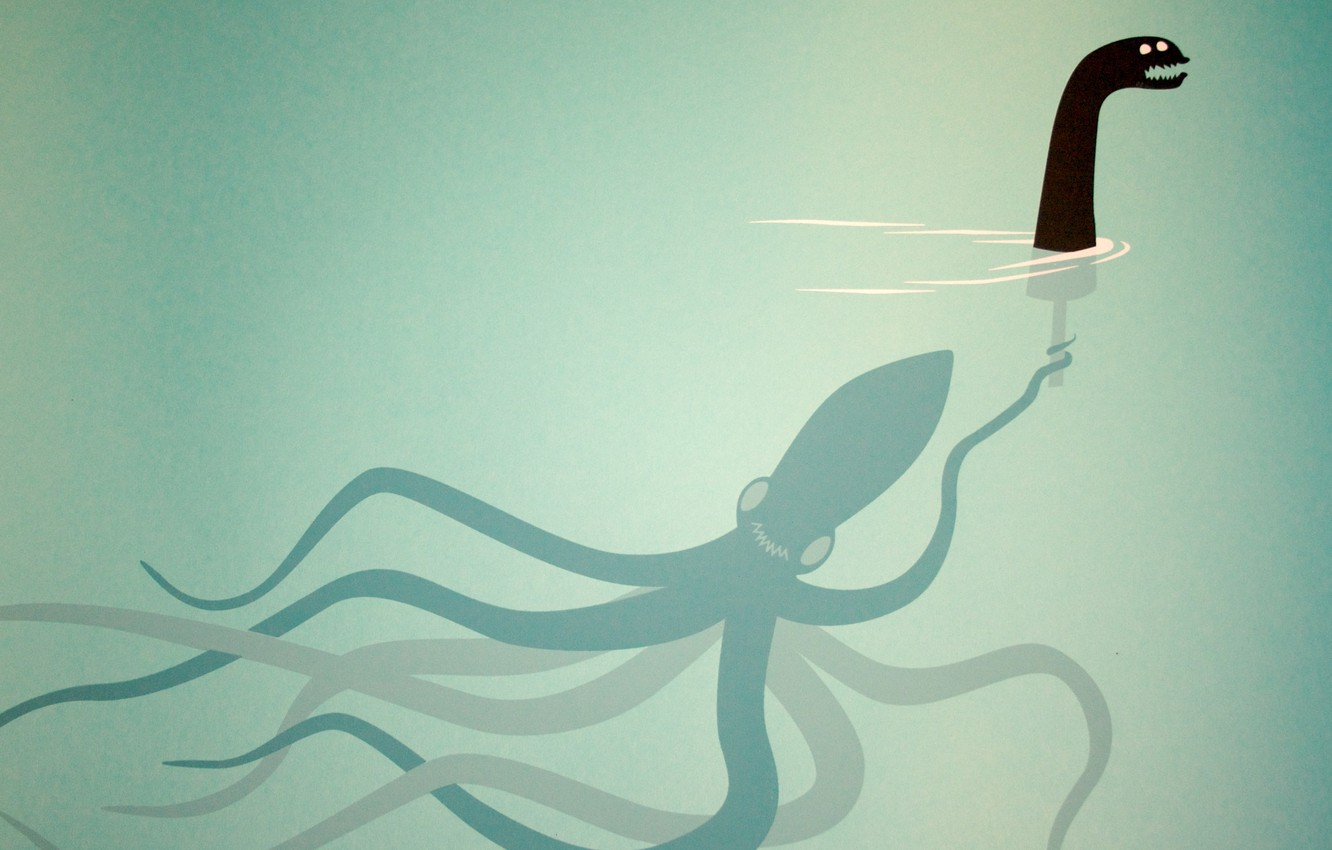 Photo wallpaper doll, octopus, monster, under water, the tentacles