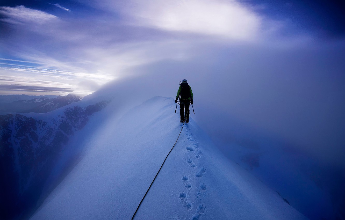 Photo wallpaper snow, mountains, climber, Mont Blanc, climbing