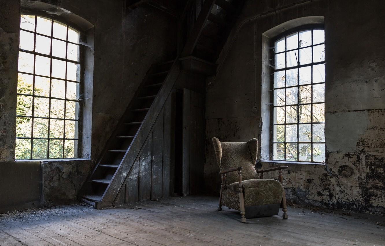 Photo wallpaper room, Windows, chair