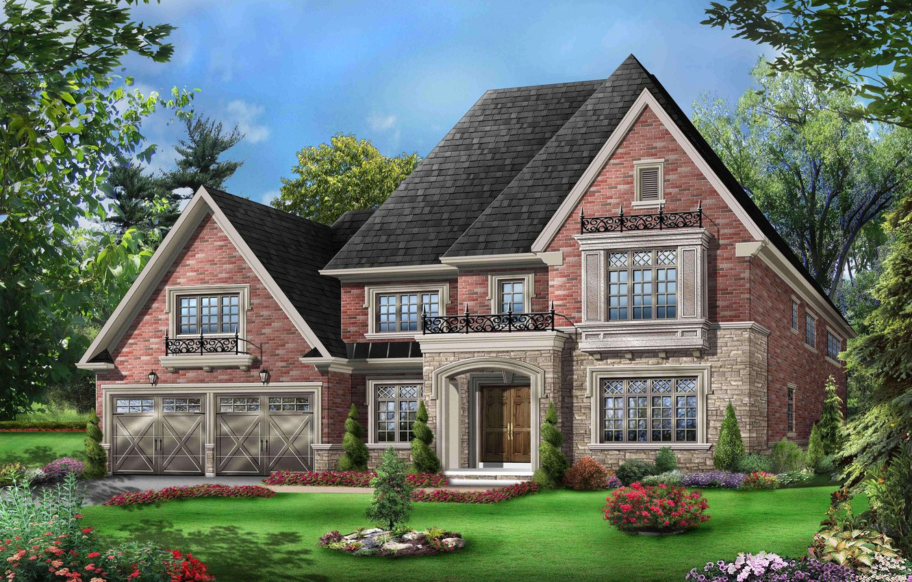 Photo wallpaper trees, flowers, design, house, lawn, graphics, garden, mansion, the bushes, 3D