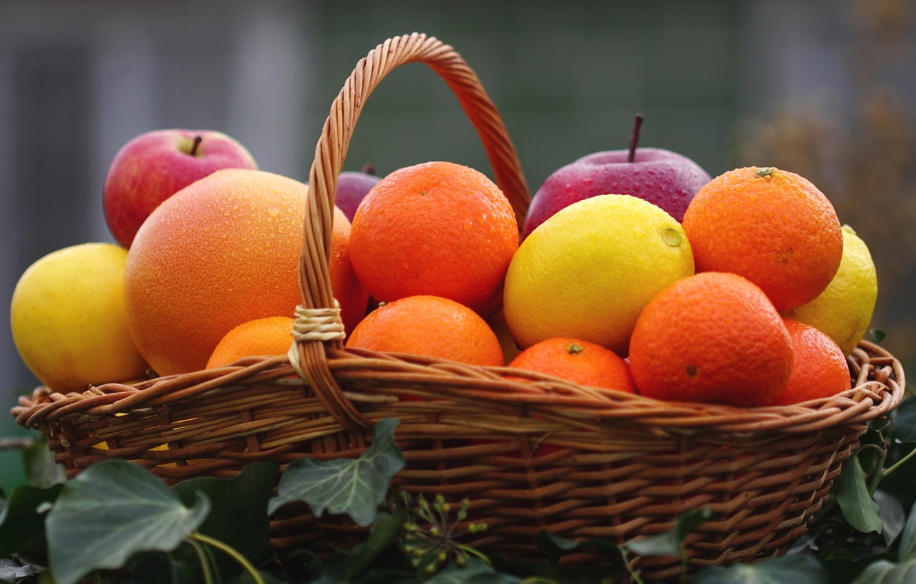 Photo wallpaper lemon, basket, Apple, orange, fruit, citrus, Mandarin