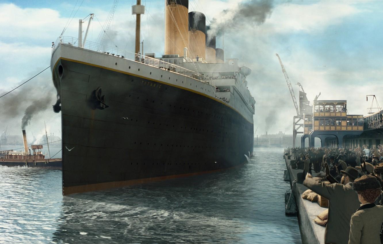 Photo wallpaper Pier, Figure, Liner, People, Titanic, Titanic, Passenger, Tugs, Waste