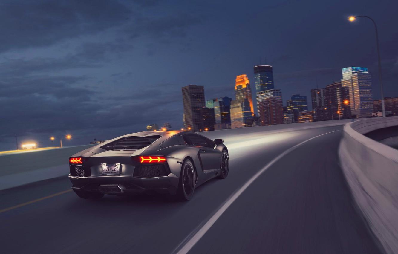 Photo wallpaper Lamborghini, Light, Speed, Black, LP700-4, Aventador, Supercar, Rear