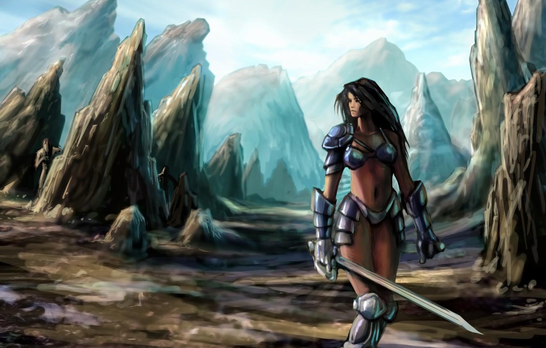 Photo wallpaper girl, mountains, rocks, sword, armor