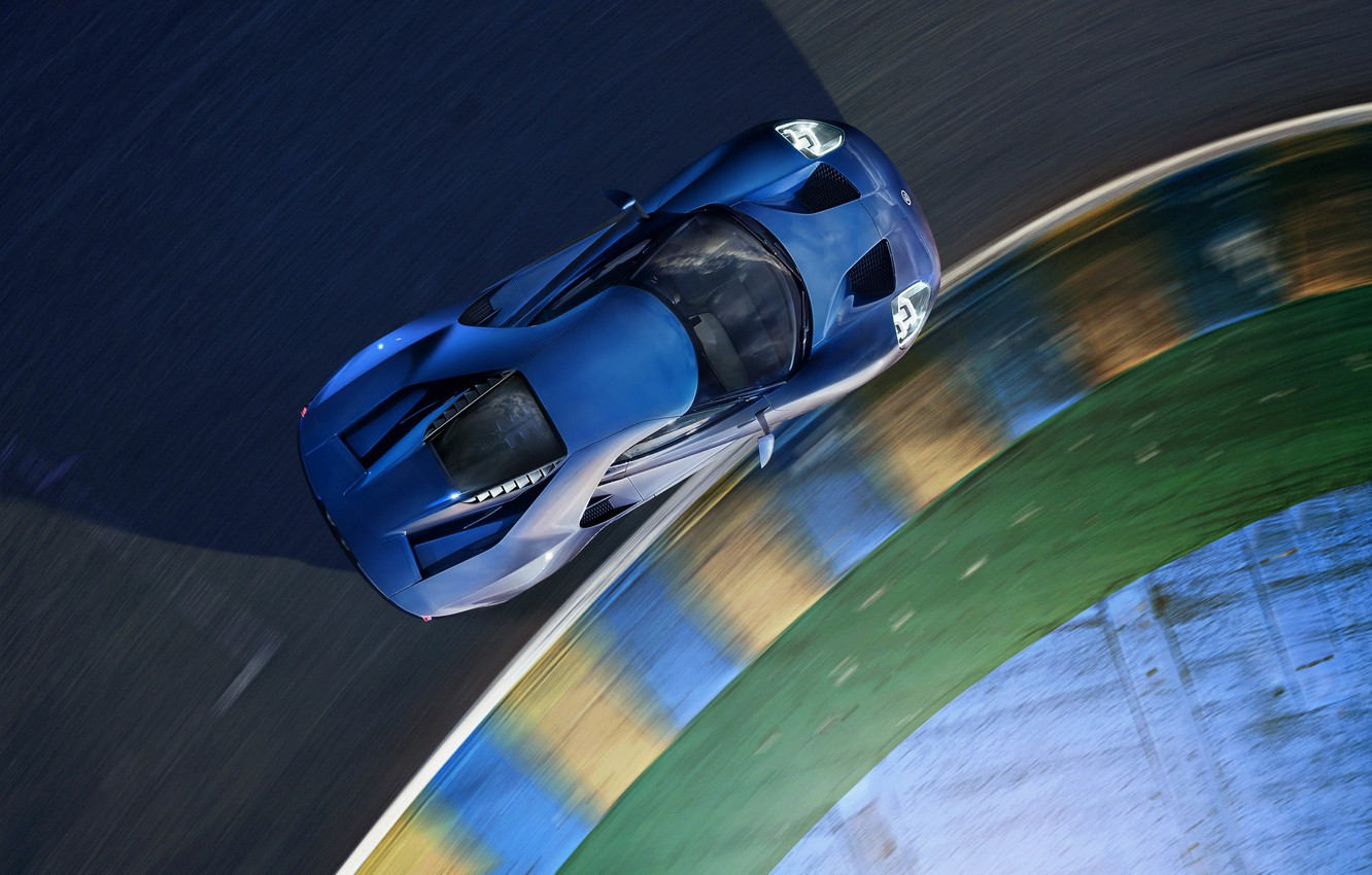 Photo wallpaper machine, Ford, turn, supercar, supercar, blue, the view from the top