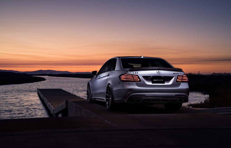 Photo wallpaper Mercedes-Benz, Car, Carbon, Sunset, Grey, Matte, Motorsport, Sonic, E63, Rear, Mode, AMG S