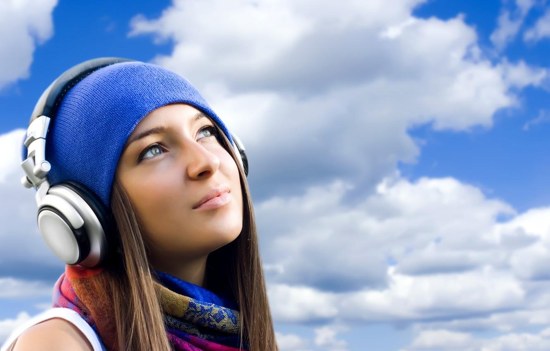 Photo wallpaper the sky, look, girl, headphones