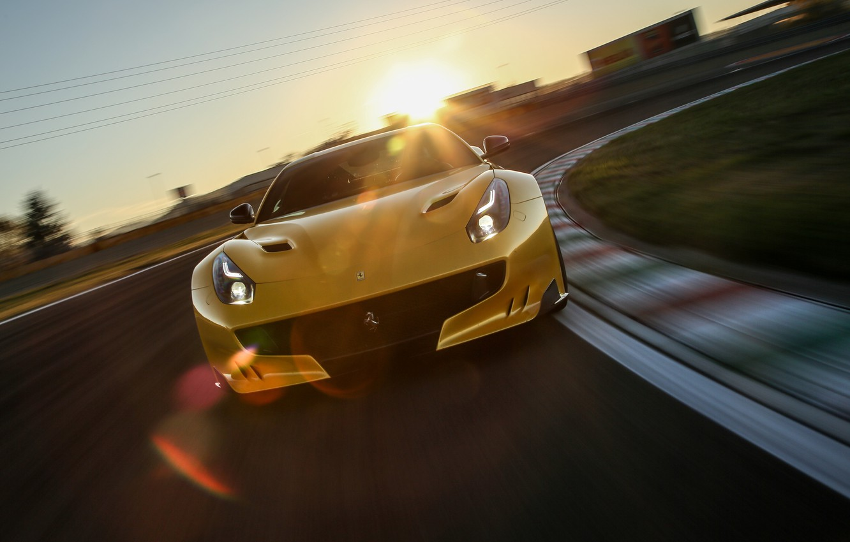Photo wallpaper the sun, track, supercar, ferrari, f12, f12tdf