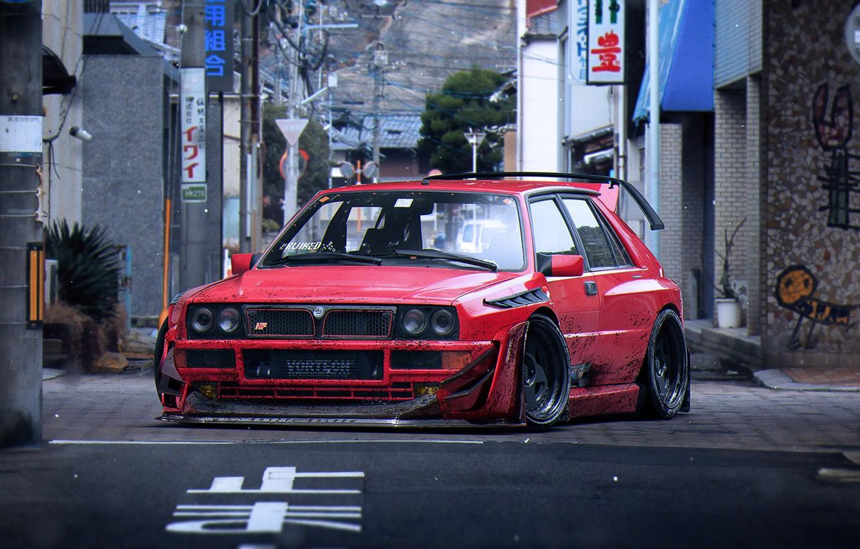 Photo wallpaper Red, Lancia, Tuning, Future, Delta, Wheels, Integrale, by Khyzyl Saleem, Fifteen52