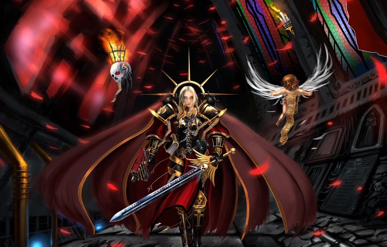 Photo wallpaper sword, temple, cloak, warhammer, bolter, armor, 40k, 40 000, varhamer, servitor, Adeptus sororitas, sisters of …