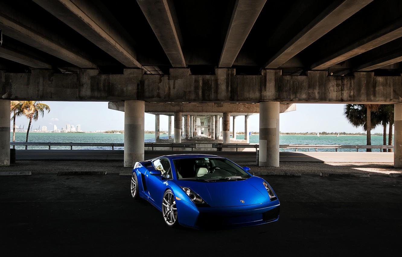 Photo wallpaper the sky, blue, bridge, palm trees, Lamborghini, Gallardo, Lamborghini, blue, Lamborghini, the front part, Gallardo, …
