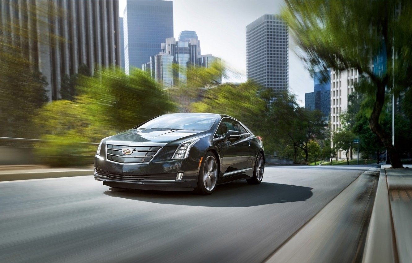 Photo wallpaper the city, background, Cadillac, coupe, the front, Cadillac, ELR, ELR