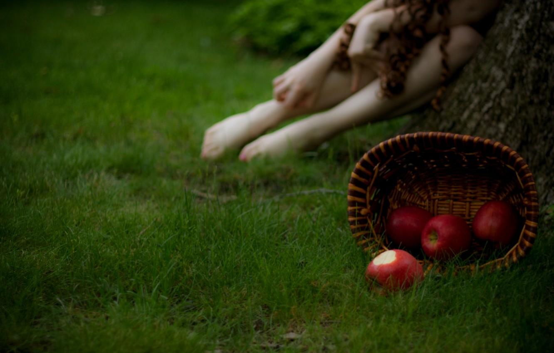 Photo wallpaper grass, girl, macro, photo, background, basket, apples, blur