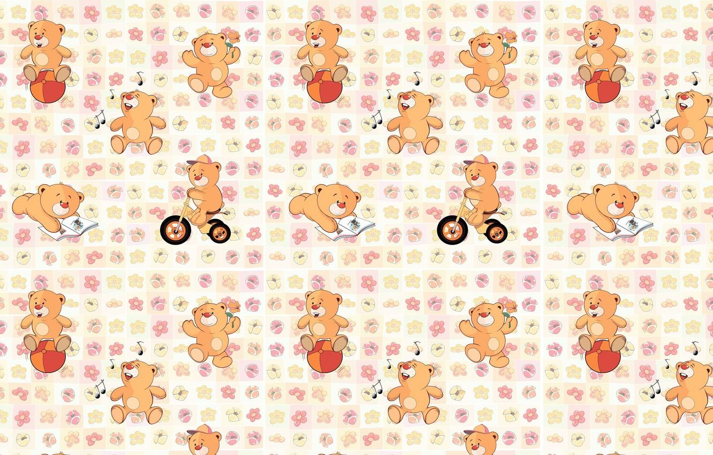 Photo wallpaper background, texture, art, bear, children's