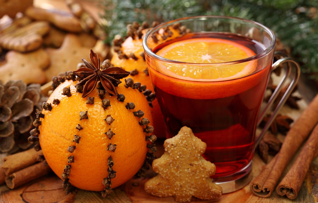 Photo wallpaper orange, New Year, cookies, Christmas, drink, cinnamon, carnation, holidays, star anise, Anis, mulled wine