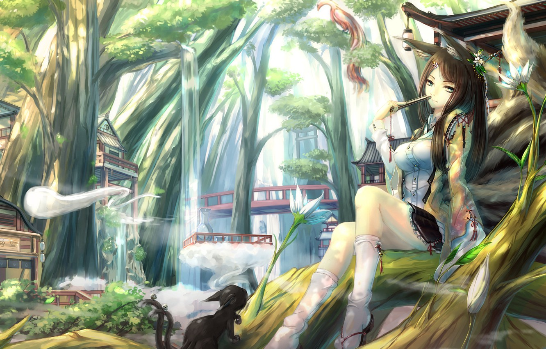 Photo wallpaper girl, trees, bird, home, fan, art, ears, tails, kikivi